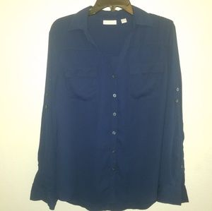 NY & Co. Sheer Button Down Blouse in Blue
